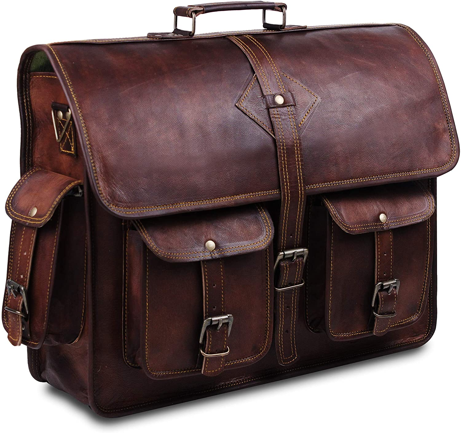 Vintage Leather Laptop Messenger Bag Briefcase Laptop Bags for Men Shoulder Leather Messenger Bag Briefcase College Bag for Weekend Travel Office Meetings