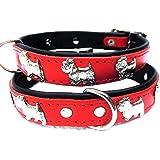Lusy011 *WESTIE* Hunde Halsband, LEDER, Halsumfang 30-35cm, ROT, NEU(PL.24-5-3-35)