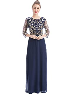 MANER Women Chiffon Beaded Sequin 3/4 Sleeve Long Gowns Prom Evening Bridesmaid Dress