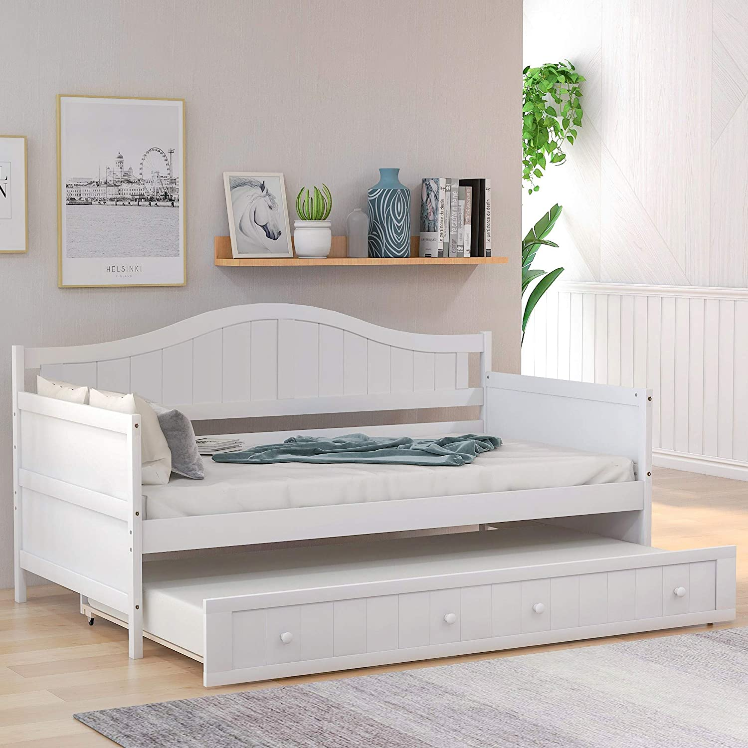Twin Wooden Daybed with Trundle, Sofa Bed for Bedroom Living Room,  Harper&Bright Designs Wood Daybed with A Trundle, Trundle Daybed Twin Size,