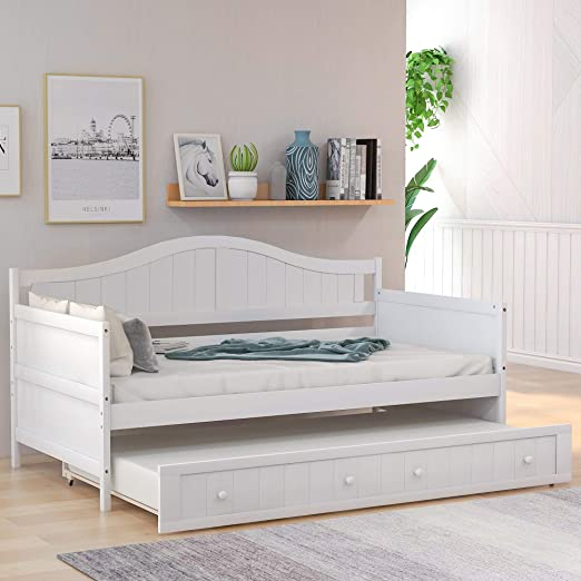 Amazon Com Twin Wooden Daybed With Trundle Sofa Bed For Bedroom Living Room Harper Bright Designs Wood Daybed With A Trundle Trundle Daybed Twin Size Standard Twin Bed Frame Ship From Usa White Kitchen