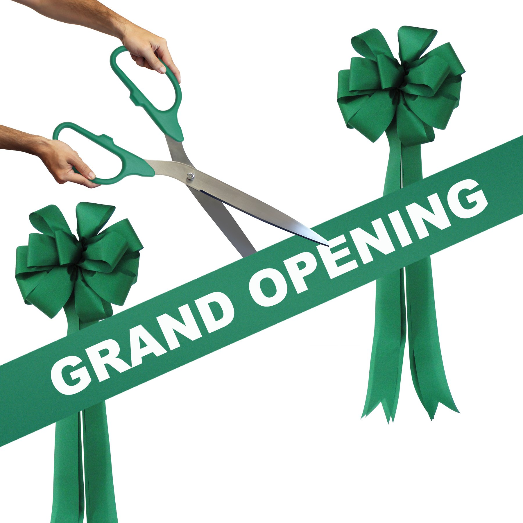 Grand Opening Kit - 25'' Green/Silver Ceremonial Ribbon Cutting Scissors with 5 Yards of 6'' Green Grand Opening Ribbon and 2 Green Bows