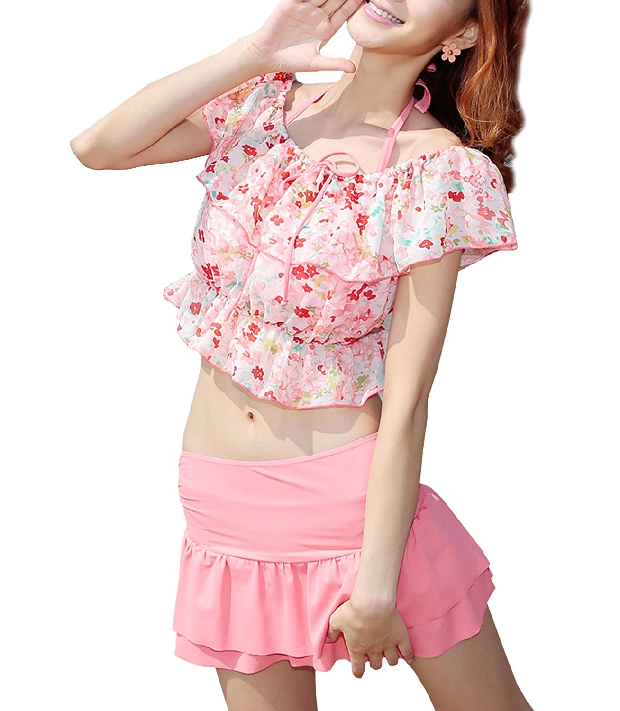 (ヒルトップクラウド)HILLTOPTOCLOUD レディース水着 4点セット ビキニ上下 体型カバー 可愛い花柄 女性用水着 B01KJ81YDY XL|ピンク
