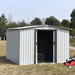 Storage Shed 8x8 FT, Galvanized Steel Outdoor Storage Shed with Air Vent and Slide Door for Garden Patio Lawn, Gable Roof Patio Sheds & Outdoor Storage