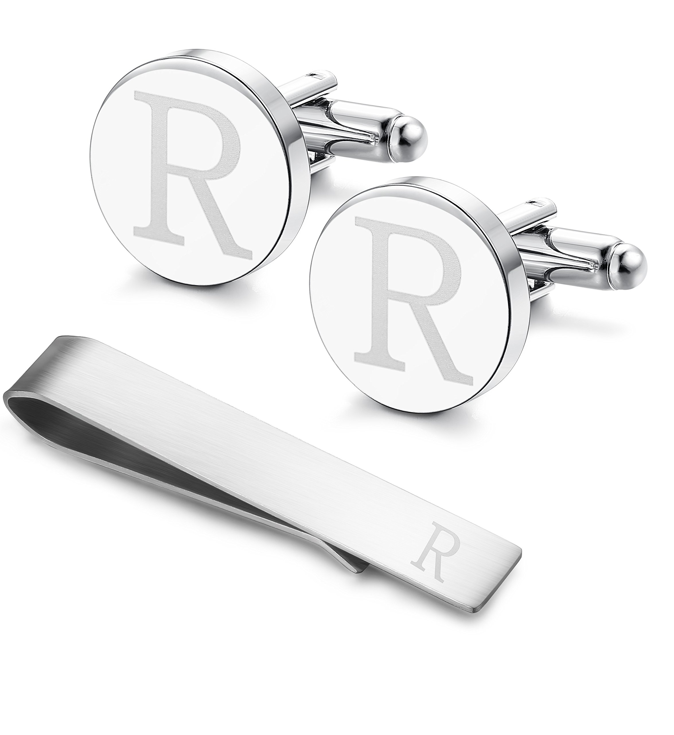 Classic Engraved Initial Cufflinks and Tie Clip Bar Set Alphabet Letter Formal Business Wedding Shirts R