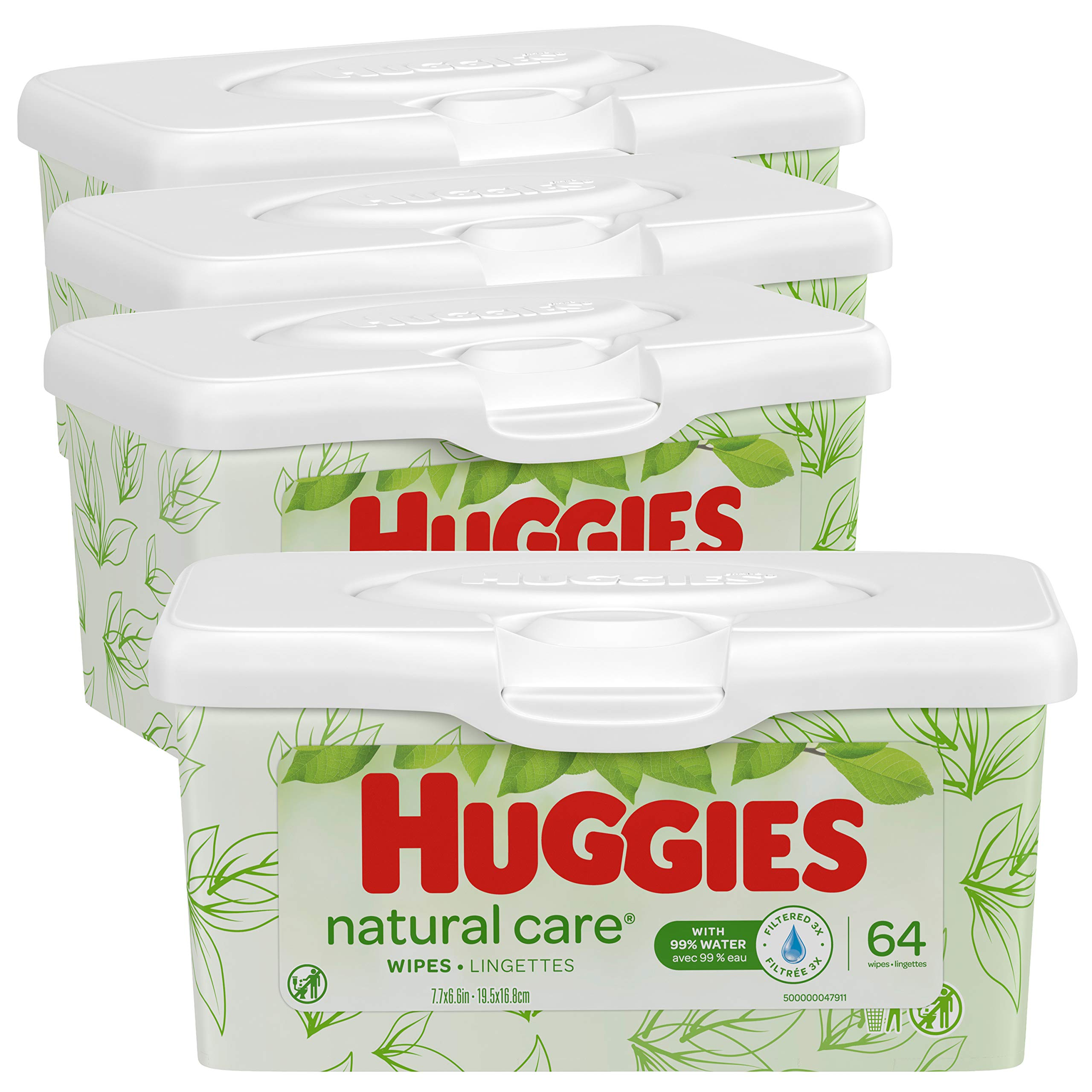 HUGGIES Natural Care Unscented Baby Wipes, Sensitive, 4 Refillable Tubs, 64 Wipes per Tub, 256 Wipes Total by HUGGIES