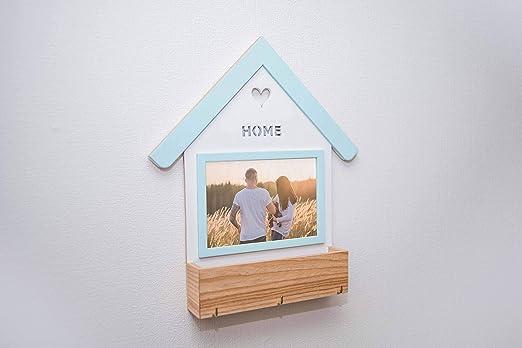 EWARTWOODS Caja de madera para colgar llaves, soporte para correo, caja para llaves, ganchos para colgar con caja de almacenamiento, portafotos y llaves personalizados, organizador de pared.: Amazon.es: Hogar
