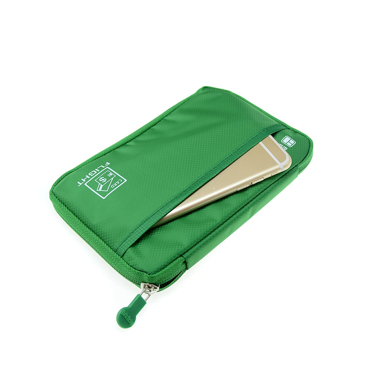 Green Lustear Travel Wallet Passports Holder Documents Organizer Zipper Case