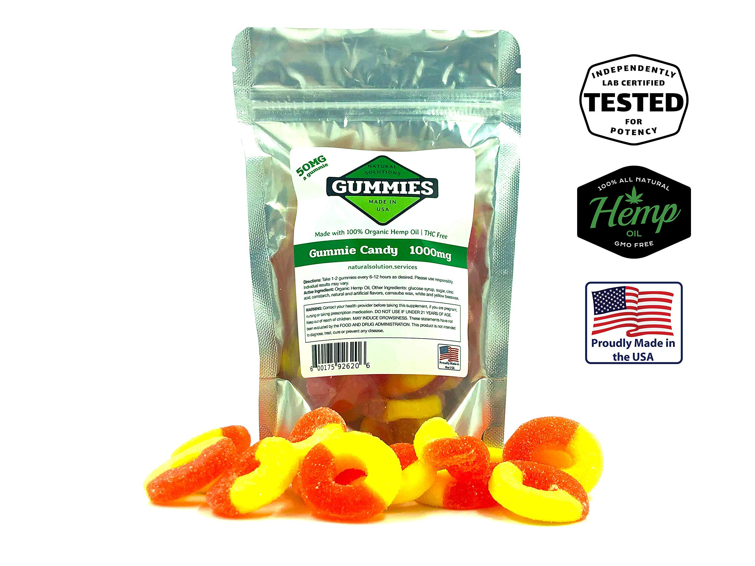 Hemp Gummies – 1000 mg per Bag – 20ct Premium Peach Rings – 50mg per Gummy – Organic Hemp + MCT – 0% THC – Relief for Stress, Pain, Inflammation, Anxiety, Depression, Nausea, Omega 3,6,9 and More