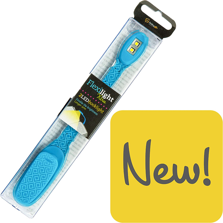Flexilight Xtra Leselicht Flexibel Tragbar LED Klammer Lesen Licht Buchliebhaber Geschenk Xtra Blau Geometrisch