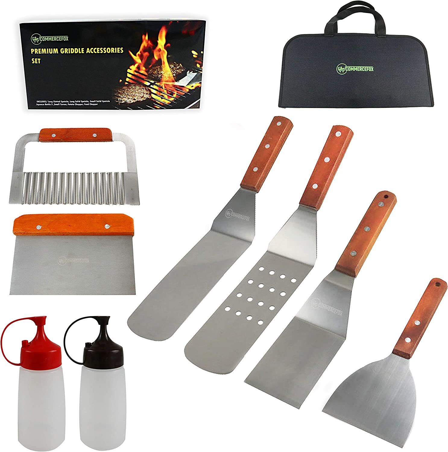 CommerceFox Griddle Accessories 9Pcs Griddle Tools Spatulas 2 Squeeze Bottles, Carrying Bag Heavy Duty Wooden Handle & Stainless Steel Perfect for Outdoor & Indoor Cooking Grill Set.