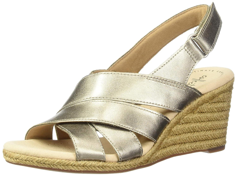 Pewter Metallic Leather Clarks Womens Lafley Krissy Espadrille Wedge Sandal