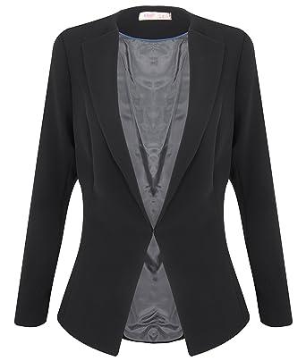 4720c9c635425 6454-BLK-06  Tailored Fashion Lapel Smart Open Blazer Jacket Coat Party  Formal