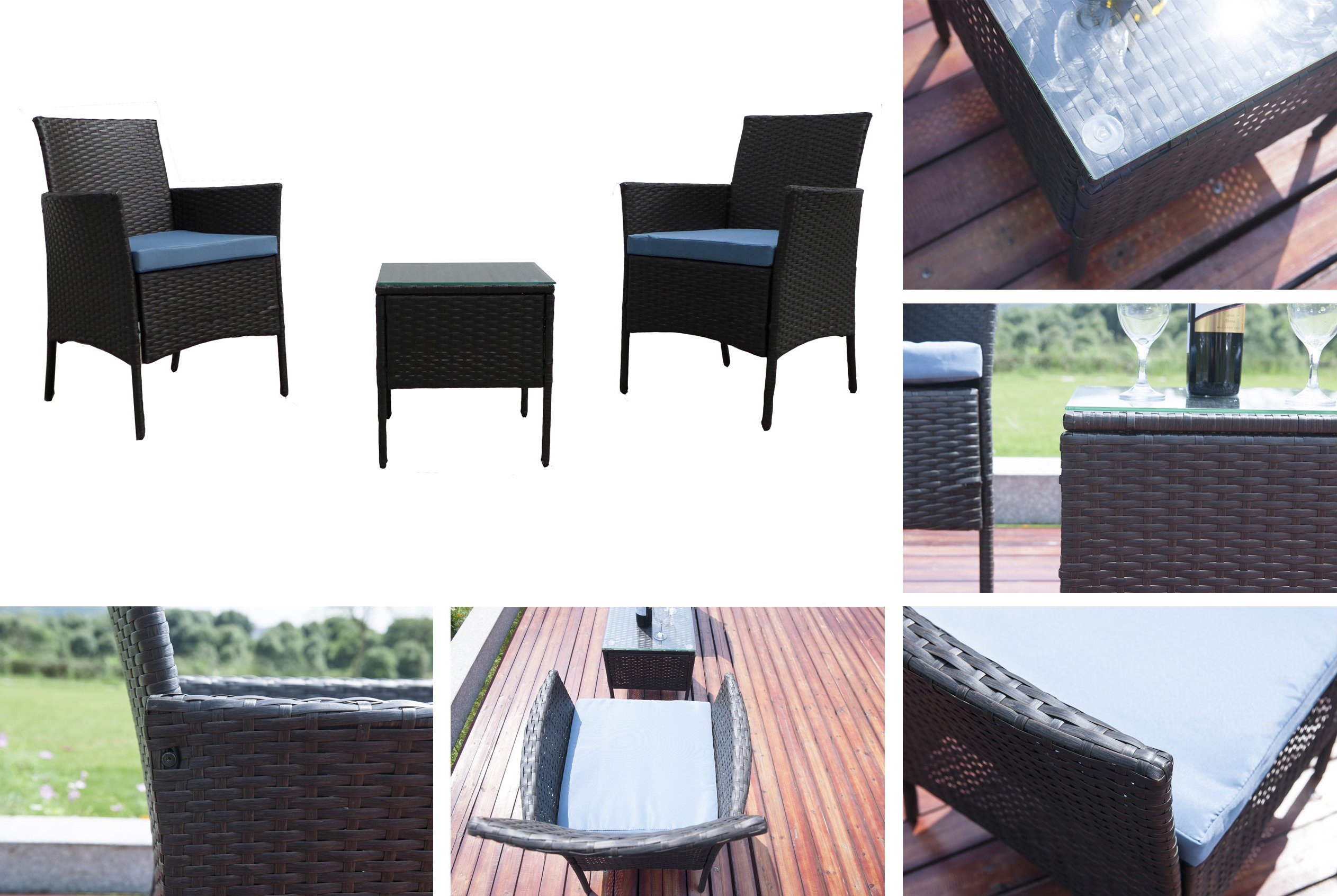 """GOJOOASIS Rattan Patio Outdoor Armchairs PE Wicker Furniture 3 Piece Conversation Set Garden Table and Chairs with Blue Cushions, Brown - 【3PCS CONVERSATION SET】Comes with 2 Armchair, 1 table with tempered glass top, 2 seat cushions, providing relaxation for up to 2 persons. 【RATTAN SECTIONAL DIMENSION】Overall size Armchair: 23.25""""L x 17.75""""W x 32.25""""H; Coffee Table: 15.75""""L x 15.75""""W x 17""""H; Max Load-bearing: 350 lbs for Sofa; 120 lbs for Coffee Table 【DURABLE OUTDOOR FURNITURE】This sectional is constructed from a rust-resistant steel frame and PE Rattan Wicker. Rattan is naturally more durable and long-lasting than traditional wicker making this piece more heat and weather resistant than similar wicker furniture. - patio-furniture, patio, conversation-sets - 81kHncEfwdL -"""