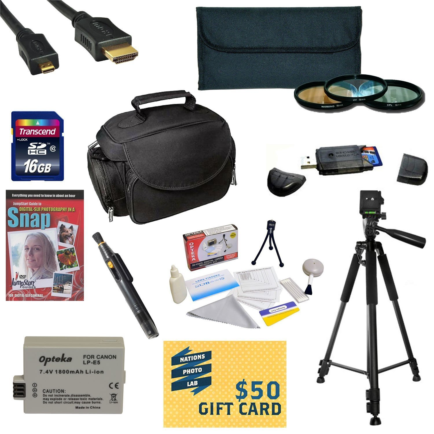 47th Street Photo Best Value Accessory Kit For the Canon 450D, 1000D, XS, XSi - Kit Includes 16GB High-Speed SDHC Card + Card Reader + Extra Battery + Travel Charger + 58MM 3 Piece Pro Filter Kit (UV, CPL, FLD Lens) + HDMI Cable + Padded Gadget Bag + Prof