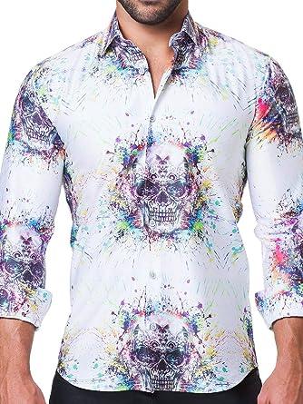364688d2916a Maceoo Mens Designer Dress Shirt - Stylish & Trendy - Fibonacci Spectre  White - Tailored Fit at Amazon Men's Clothing store: