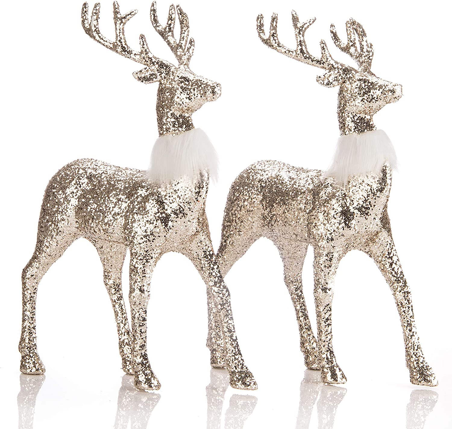 blitzlabs Christmas Reindeer Gold Glitter Deer Ornament Winter Decor ,Holiday Decorative Indoor Freestanding for Living Room, Tabletop, Kitchen ,Mantle, Shelf ,Desk ,Office& More,Set of 2