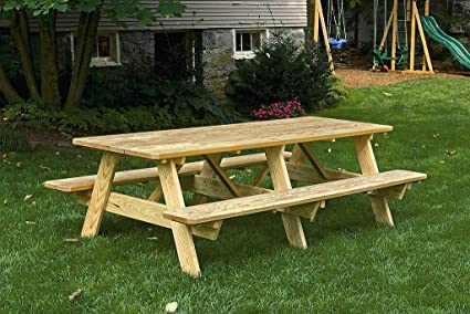 8 Ft Pressure Treated Pine Unfinished Picnic Table with Attached Benches - Amazon.com : 8 Ft Pressure Treated Pine Unfinished Picnic Table With
