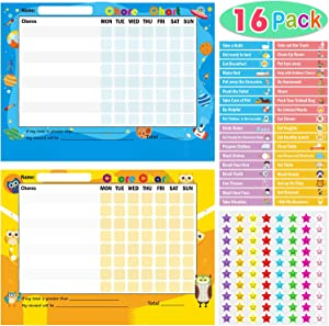 Pack of 16 Chore Reward Chart for Kids, Yoklili Teach Children Responsibility & Good Behavior Chart for Home Classroom, Includes 144 Chore Stickers and 960 Star Stickers, 13.5 x 9 Inches