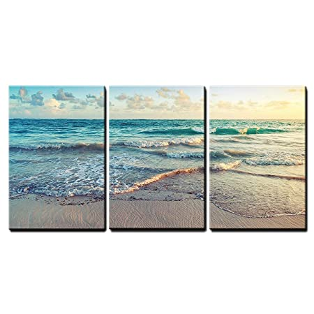 wall26 – Sunrise on Atlantic Ocean – Canvas Art Wall Decor – 24 x36 x3 Panels