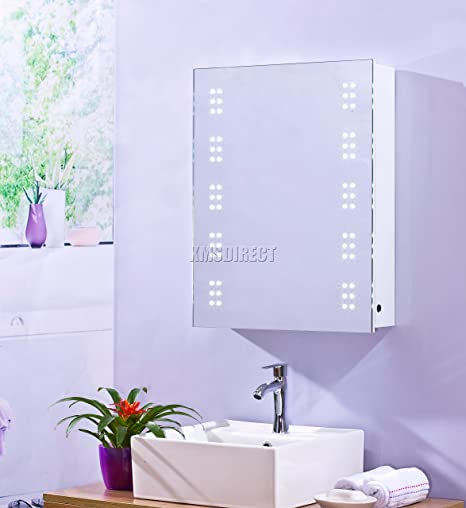 Foxhunter 1 door wall mount led illuminated mirror bathroom cabinet foxhunter 1 door wall mount led illuminated mirror bathroom cabinet unit storage cupboard steel with shelf mozeypictures Choice Image