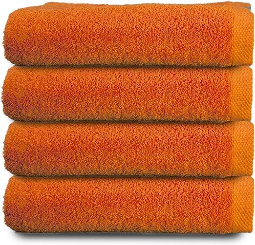 ADP Home - Pack Toallas 550 Grms 4 Piezas (Toalla Lavabo/Mano) 100% Algodón Peinado Color - Naranja Talla - 50 x 100 cm: Amazon.es: Hogar