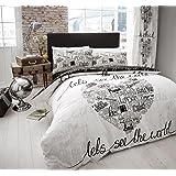 Goldstar® World Black White King Size Duvet Cover Bedding Set