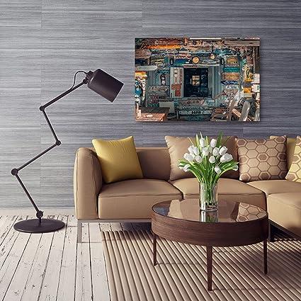 Feeby Cuadro en Lienzo - 1 Parte - 80x120 cm, Imagen Impresión Pintura Decoración Cuadros de una Pieza, CASETA DE Colores, Rústico, Marrón, Azul: Amazon.es: ...