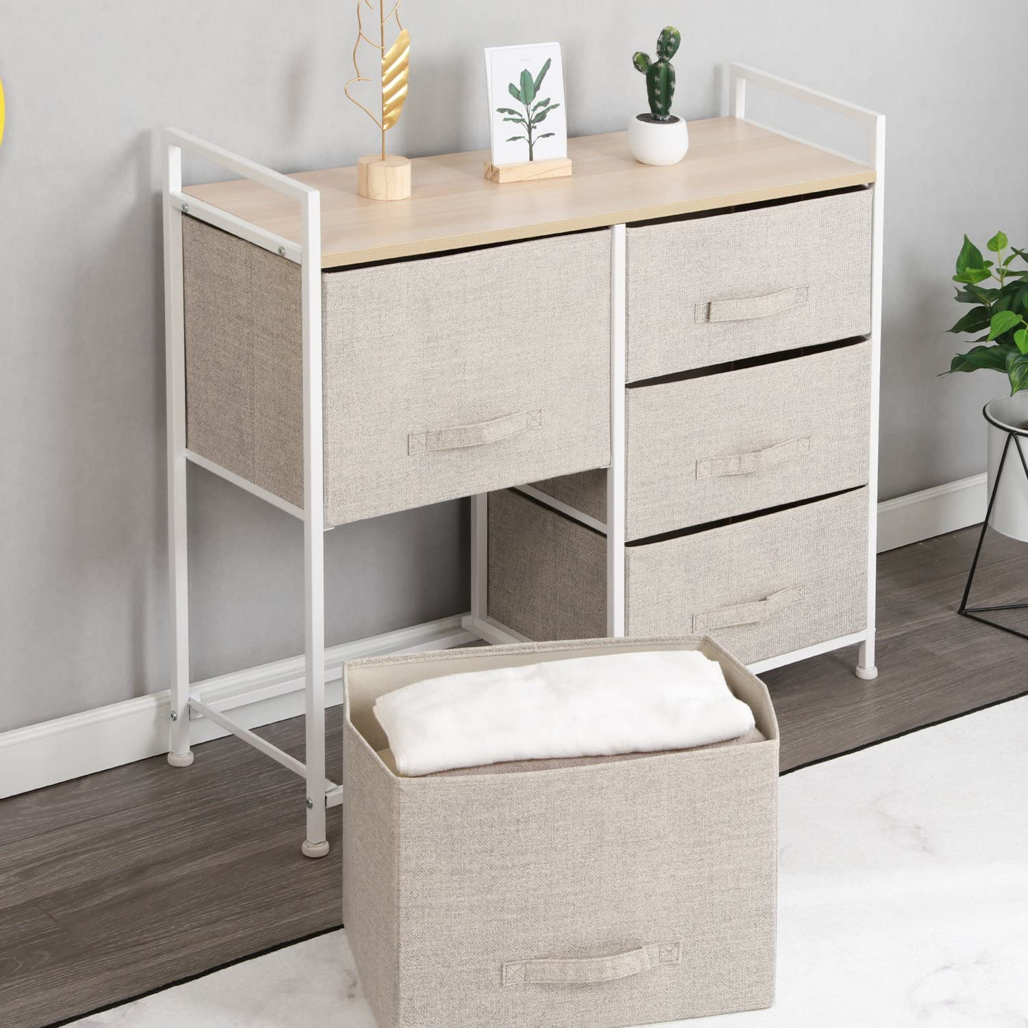 SH-WK-103N or Play Room with Fabric Bin Storage Unit Beige SogesHome 4-Drawer Storage Organizer Unit Easy Pull Fabric Bins Metal Frame,Storage Organizer Unit Easy Assembly for Bedroom