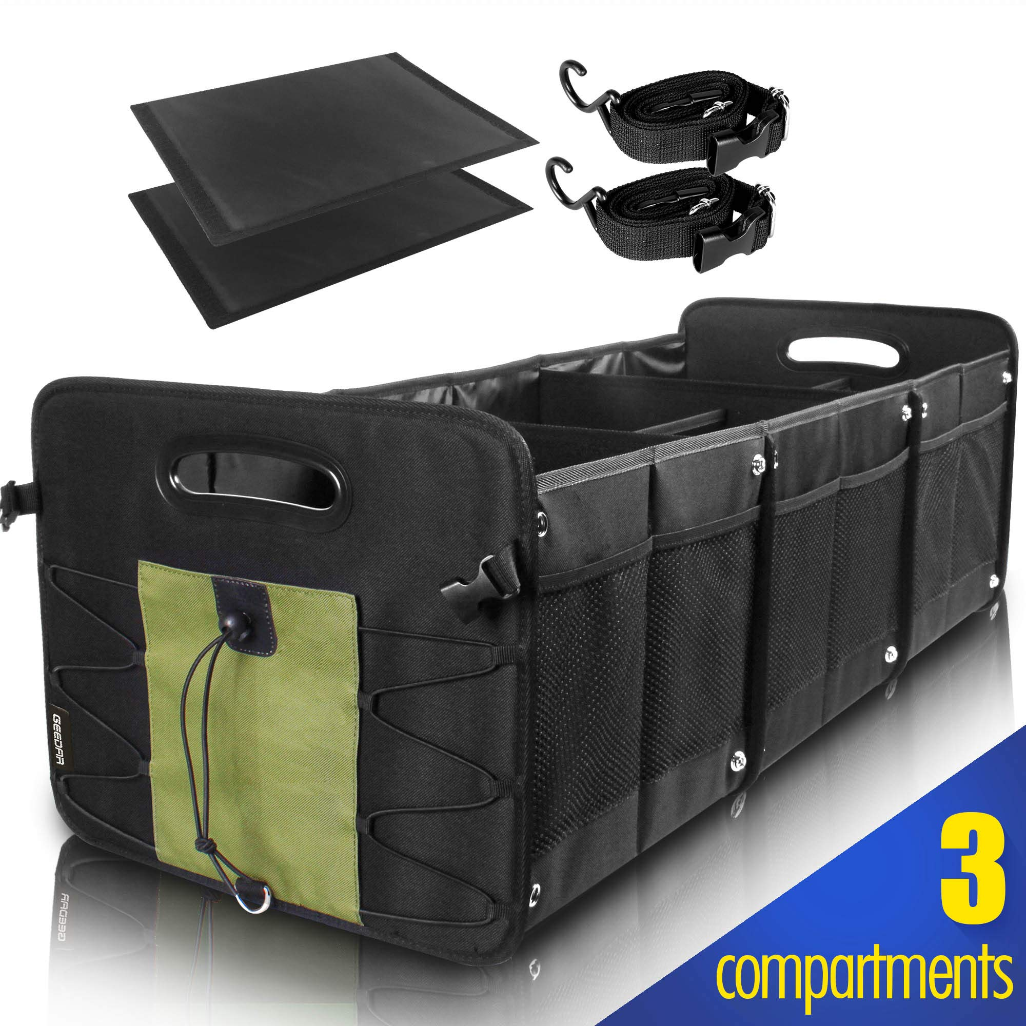 GEEDAR Trunk Organizer for Car SUV Trunk Organizers and Storage [3 Large Compartments] Collapsible Portable Non-Slip Bottom with Tie Down Straps (Green) by GEEDAR