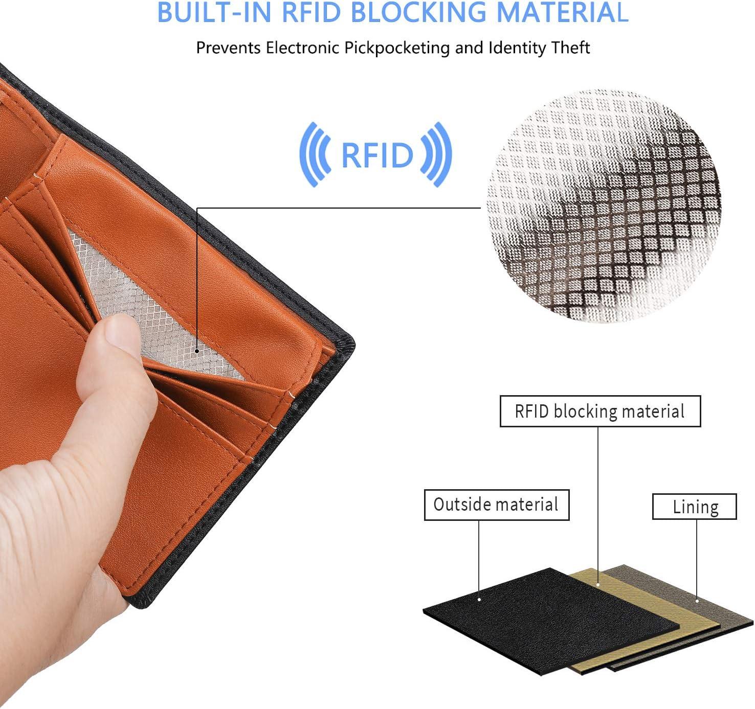 Fathers Day Gift Vemingo Wallets for Men RFID Blocking Stylish Mens Wallet with Clear ID Window Slim Credit Card Holder XB-44 Black+Orange Xb-37 Black+orange