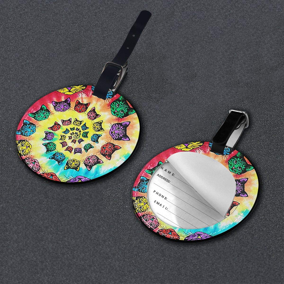 Free-2 Spiral Cats Tie-Dye Luggage Tag 3D Print Leather Travel Bag ID Card