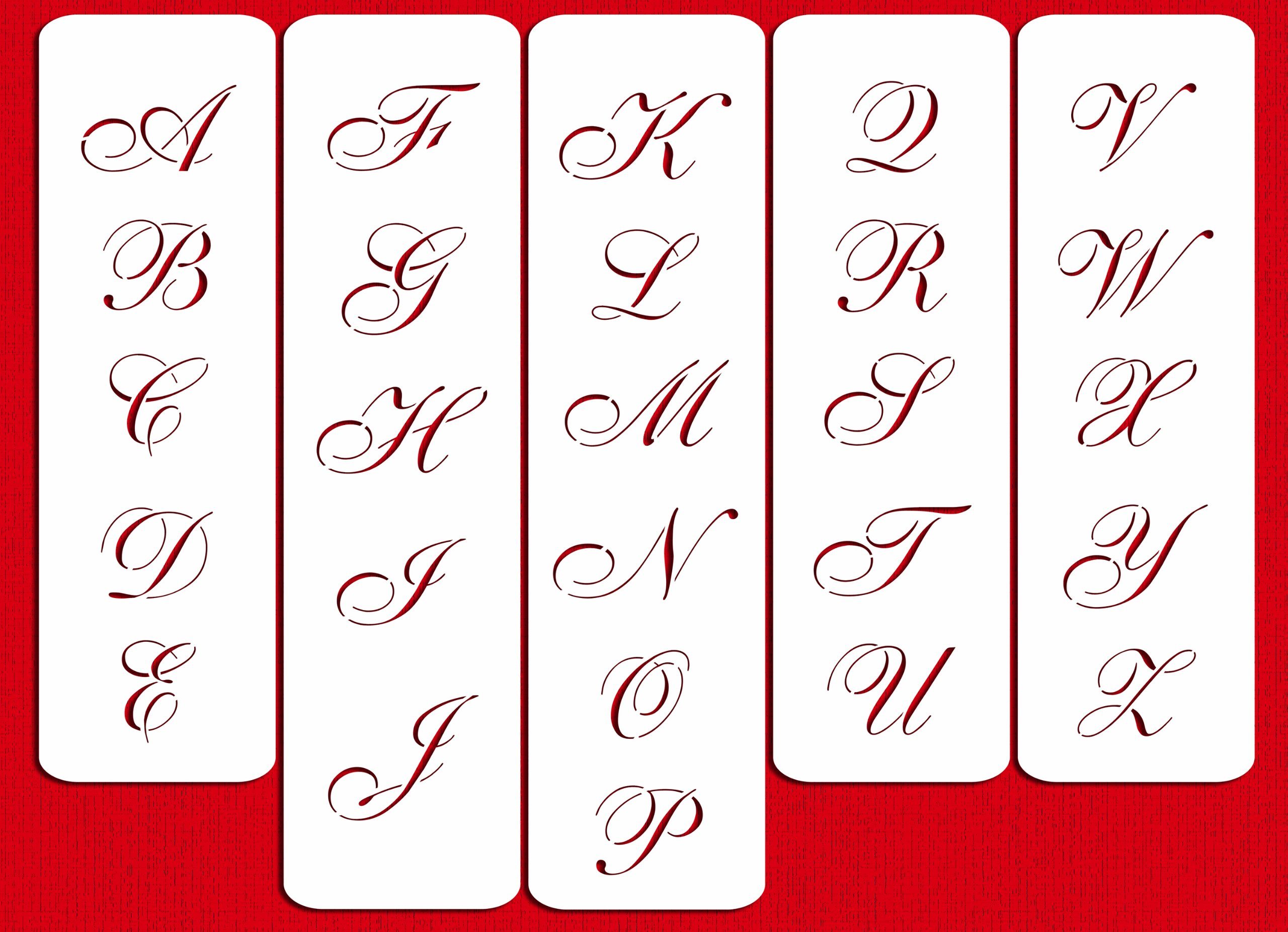 Designer Stencils C111 2.25 Inch Large Script Cake Stencil, Beige/semi-transparent