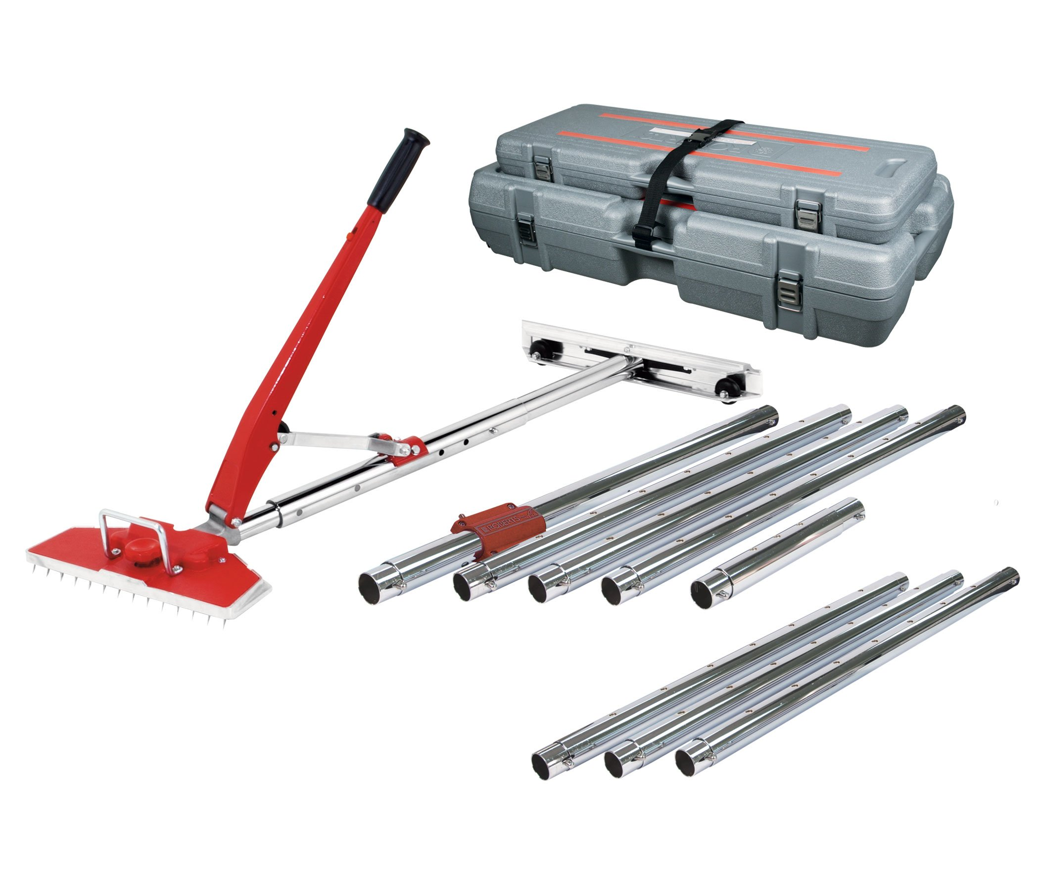 Roberts 10-254V Value Kit Power-Lok Carpet Stretcher with 17 Locking Positions and 18-Inch Tail Block with Wheels