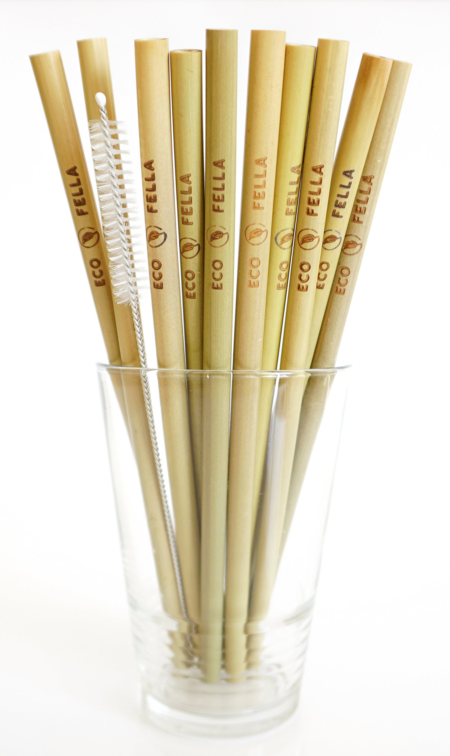 """ECOFELLA 8"""" REUSABLE BAMBOO DRINKING STRAWS 