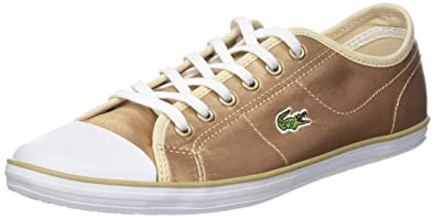 add6a271625a5 Lacoste Womens Gold White Ziane 118 2 Sneakers-UK 4