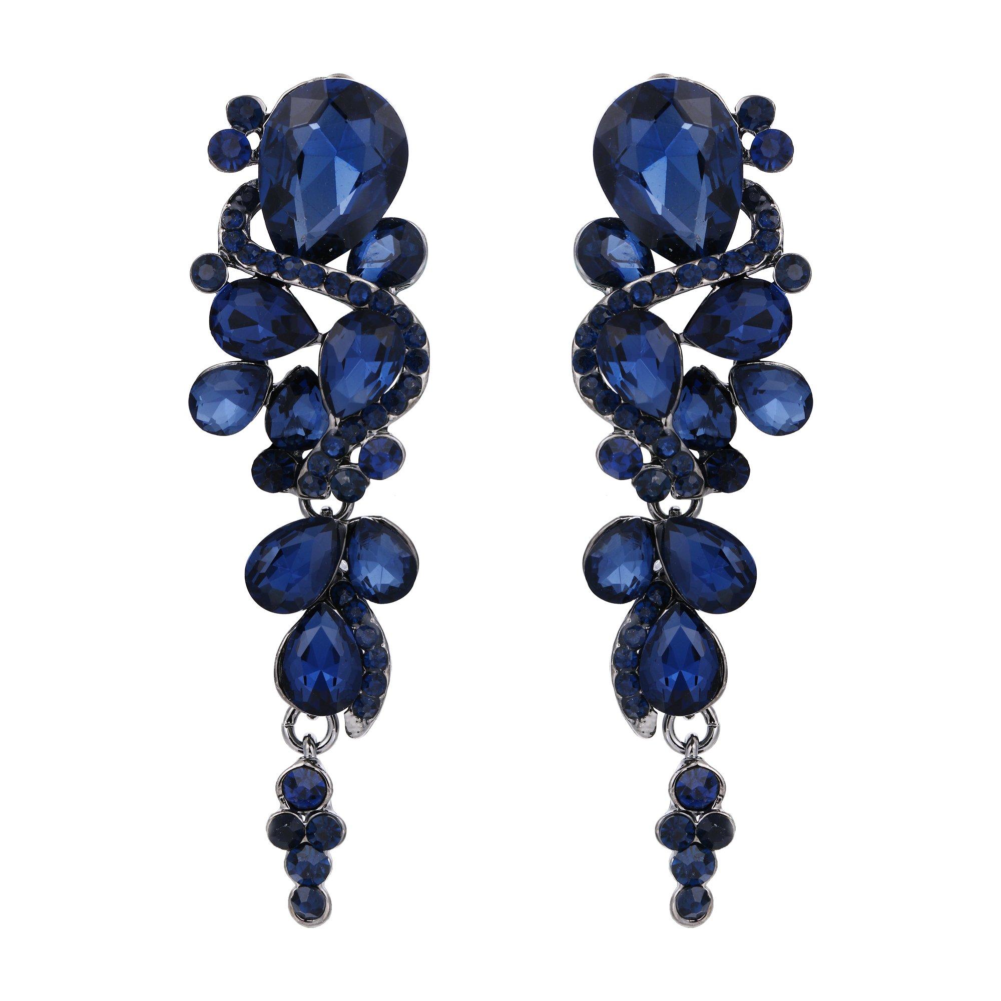 BriLove Women's Wedding Bridal Clip-On Dangle Earrings Bohemian Boho Crystal Multiple Teardrop Chandelier Earrings Navy Blue Sapphire Color Black-Silver-Tone