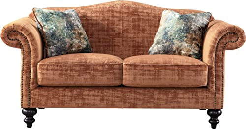 Acanva Velvet Living Room Sofa, Loveseat, Tangerine