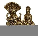 ShalinIndia Brass Hindu Art Vishnu Lakshmi Sculpture Statue (8.5-inch, Gold)
