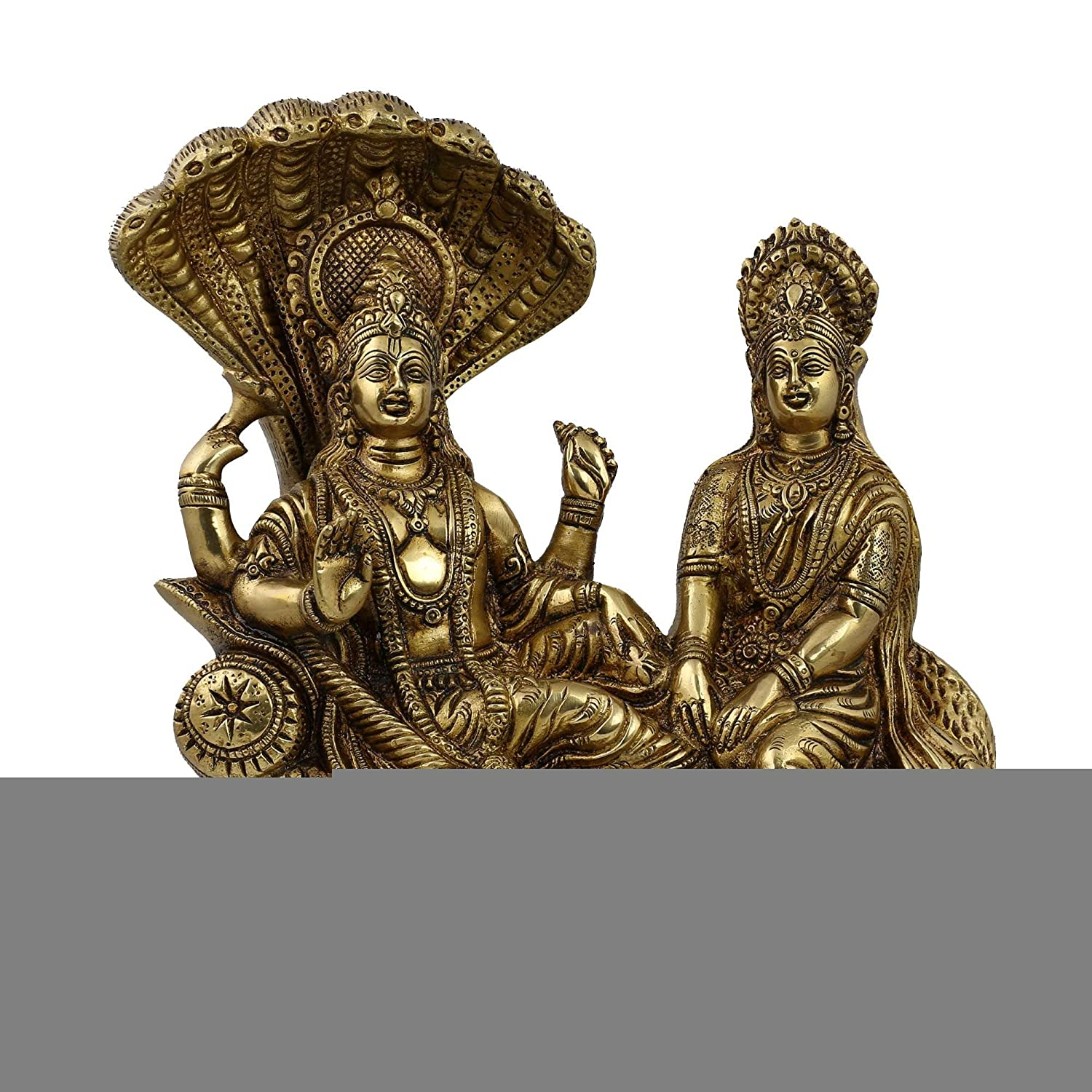 Statue Vishnu Lakshmi Hindu Art Sculpture Home Décor; Brass; 7 X 3.5 X 8.5 Inches