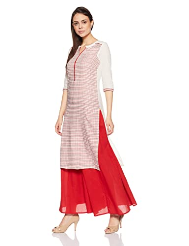 Red Cotton with three quarter sleeve  Women's Straight Kurta