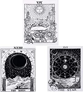 3 Pieces Tarot Tapestry The Sun The Moon The Star Tarot Card Tapestry Medieval Europe Divination Tapestry Wall Hanging Mysterious Tapestry for Home Decoration (29.1 x 38.2 Inches)