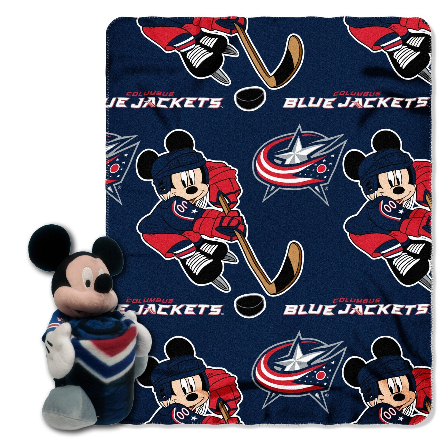 The Northwest Company Officially Licensed NHL Columbus Blue Jackets Ice Warriors Co Disney's Mickey Mouse Hugger and Fleece Throw Blanket Set, 40'' x 50'', Multi Color by The Northwest Company