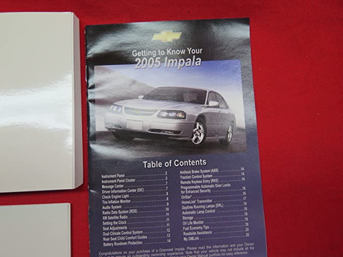 amazon com 2005 chevrolet impala owners manual chevrolet automotive rh amazon com 2013 Chevy Impala Chevrolet Owner's Manual