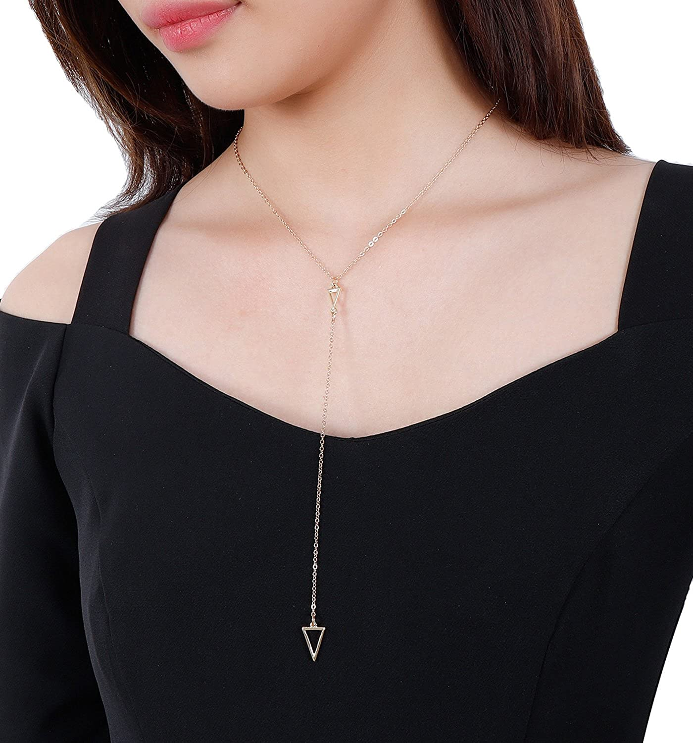 LIAO Jewelry Open Triangle Pendant Necklace Delicate Simple Bar Minimalist Rolo Chain Necklaces for Girls B07CYQTWB5_US