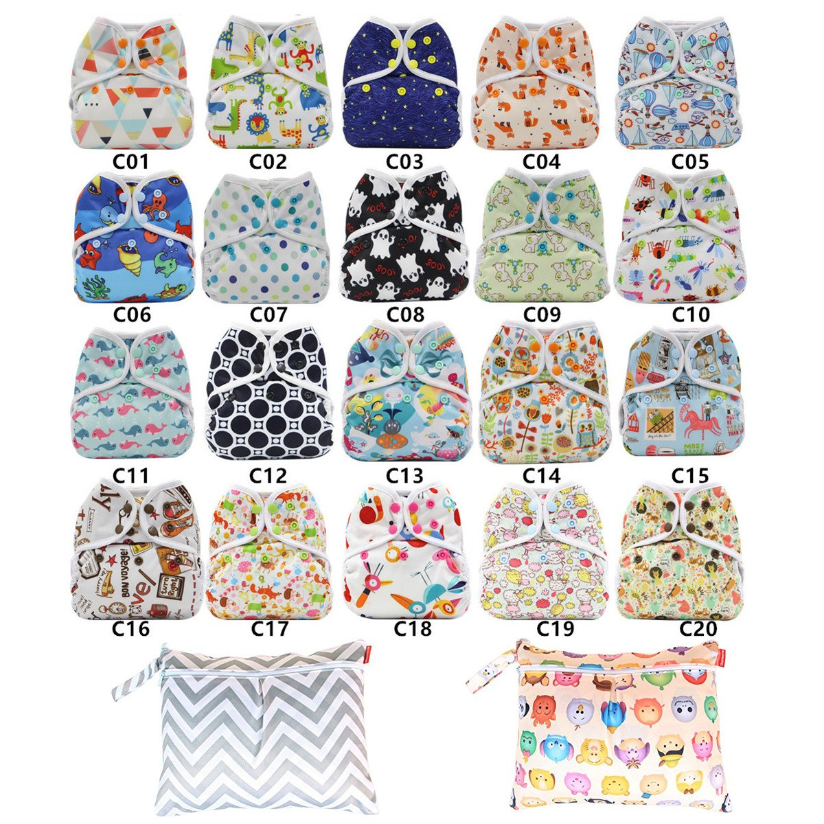 Newborn Infant Baby Cloth Diaper cover, Reusable, Washable, Adjustable (10PCS Diaper cover+2 Wet Bag) CN