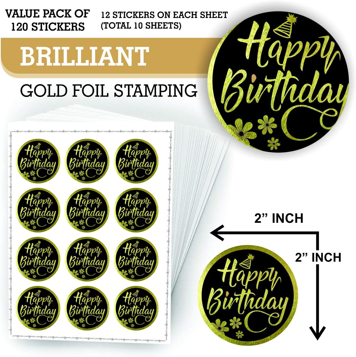 Pack of 2 Sheets Paper Studio Sticker Sheets HAPPY BIRTHDAY GOLD FOIL SCRIPT