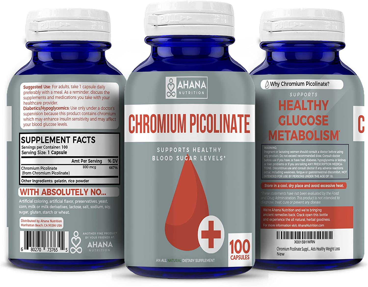 Ahana Nutrition Chromium Picolinate Supplement - Maintains Blood Sugar Levels & Aids Healthy Weight Loss (100 Capsules)