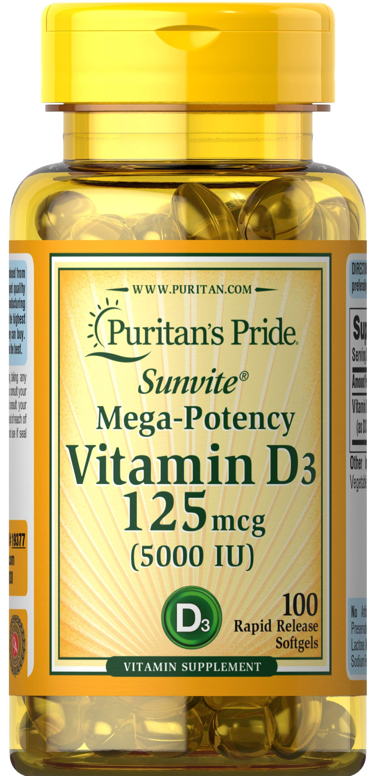 Vitamin D3 Mega Potency 5000 IU Bolsters Immune Health by Puritan's Pride for Immune System Support and Healthy Bones and Teeth 100 Softgels
