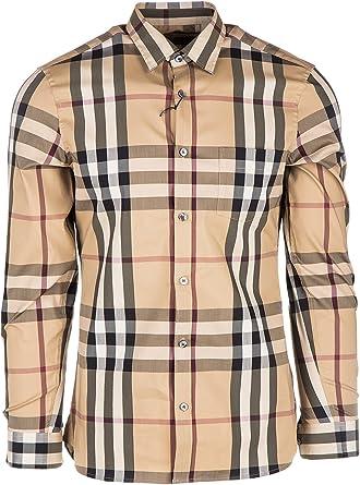 BURBERRY Camisa de Mangas largas Hombre Nuevo Nelson Beige: Amazon.es: Ropa y accesorios
